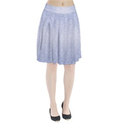 Damask Pattern Wallpaper Blue Pleated Skirt