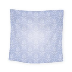 Damask Pattern Wallpaper Blue Square Tapestry (small)