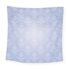 Damask Pattern Wallpaper Blue Square Tapestry (large)