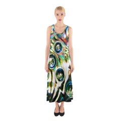 Dark Abstract Bubbles Sleeveless Maxi Dress