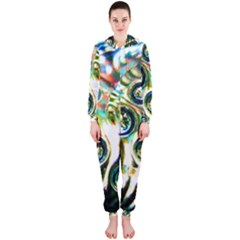 Dark Abstract Bubbles Hooded Jumpsuit (Ladies)