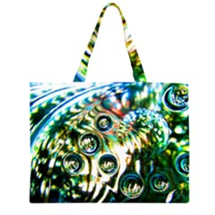 Dark Abstract Bubbles Large Tote Bag