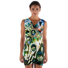 Dark Abstract Bubbles Wrap Front Bodycon Dress