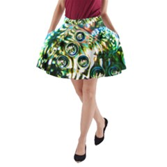 Dark Abstract Bubbles A Line Pocket Skirt