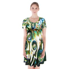 Dark Abstract Bubbles Short Sleeve V-neck Flare Dress