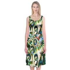 Dark Abstract Bubbles Midi Sleeveless Dress