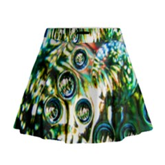 Dark Abstract Bubbles Mini Flare Skirt