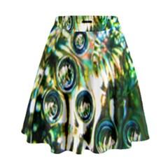 Dark Abstract Bubbles High Waist Skirt