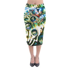 Dark Abstract Bubbles Midi Pencil Skirt