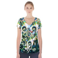 Dark Abstract Bubbles Short Sleeve Front Detail Top