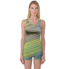 Diagonal Lines Abstract One Piece Boyleg Swimsuit