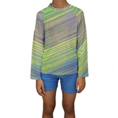 Diagonal Lines Abstract Kids  Long Sleeve Swimwear
