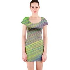 Diagonal Lines Abstract Short Sleeve Bodycon Dress
