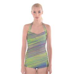 Diagonal Lines Abstract Boyleg Halter Swimsuit