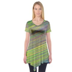 Diagonal Lines Abstract Short Sleeve Tunic