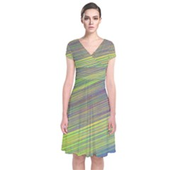 Diagonal Lines Abstract Short Sleeve Front Wrap Dress