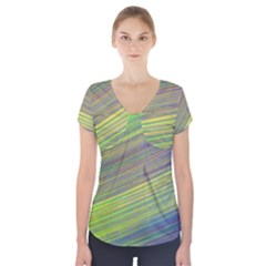 Diagonal Lines Abstract Short Sleeve Front Detail Top