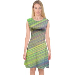 Diagonal Lines Abstract Capsleeve Midi Dress