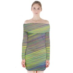 Diagonal Lines Abstract Long Sleeve Off Shoulder Dress