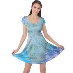 Digital Pattern Cap Sleeve Dresses