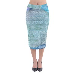 Digital Pattern Midi Pencil Skirt
