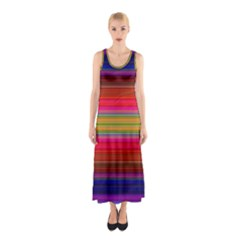 Fiesta Stripe Colorful Neon Background Sleeveless Maxi Dress
