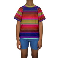 Fiesta Stripe Colorful Neon Background Kids  Short Sleeve Swimwear