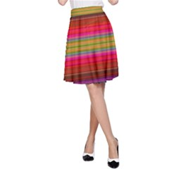 Fiesta Stripe Colorful Neon Background A Line Skirt