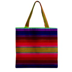 Fiesta Stripe Colorful Neon Background Zipper Grocery Tote Bag