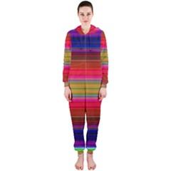 Fiesta Stripe Colorful Neon Background Hooded Jumpsuit (Ladies)