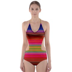 Fiesta Stripe Colorful Neon Background Cut Out One Piece Swimsuit