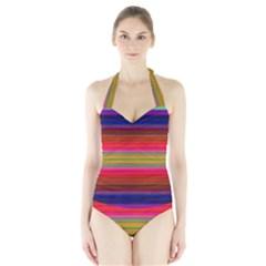 Fiesta Stripe Colorful Neon Background Halter Swimsuit