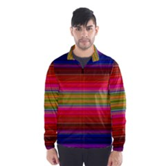 Fiesta Stripe Colorful Neon Background Wind Breaker (men)