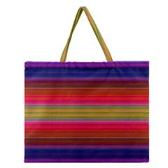 Fiesta Stripe Colorful Neon Background Zipper Large Tote Bag