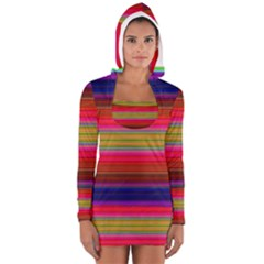 Fiesta Stripe Colorful Neon Background Women s Long Sleeve Hooded T-shirt