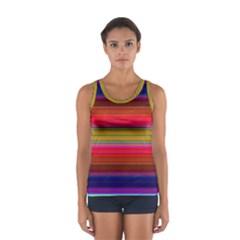 Fiesta Stripe Colorful Neon Background Women s Sport Tank Top