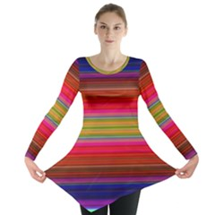 Fiesta Stripe Colorful Neon Background Long Sleeve Tunic