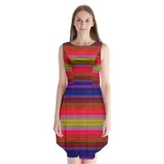 Fiesta Stripe Colorful Neon Background Sleeveless Chiffon Dress