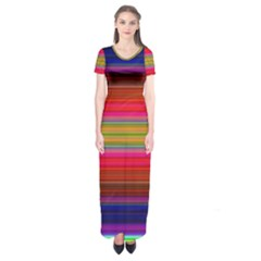 Fiesta Stripe Colorful Neon Background Short Sleeve Maxi Dress