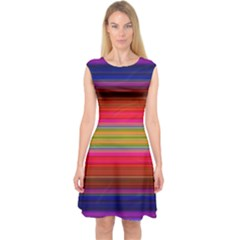 Fiesta Stripe Colorful Neon Background Capsleeve Midi Dress