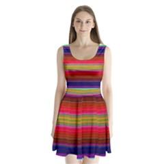 Fiesta Stripe Colorful Neon Background Split Back Mini Dress