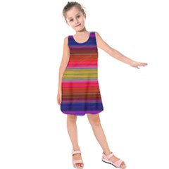 Fiesta Stripe Colorful Neon Background Kids  Sleeveless Dress
