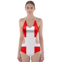 Flag Of Switzerland Cut Out One Piece Swimsuit