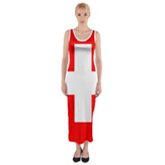 Flag Of Switzerland Fitted Maxi Dress