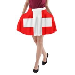 Flag Of Switzerland A-Line Pocket Skirt