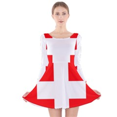 Flag Of Switzerland Long Sleeve Velvet Skater Dress