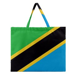 Flag Of Tanzania Zipper Large Tote Bag
