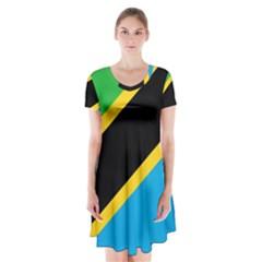 Flag Of Tanzania Short Sleeve V Neck Flare Dress
