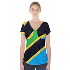 Flag Of Tanzania Short Sleeve Front Detail Top