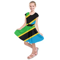 Flag Of Tanzania Kids  Short Sleeve Dress